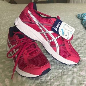 ASICS pink and navy blue
